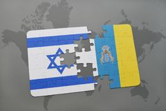Puzzle with the national flag of israel and canary islands on a world map background. 3D illustration Stock Photography