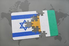 Puzzle with the national flag of israel and cote divoire on a world map background. 3D illustration Royalty Free Stock Images