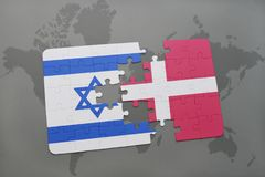 Puzzle with the national flag of israel and denmark on a world map background. 3D illustration Stock Image