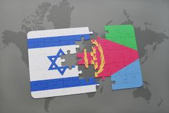 Puzzle with the national flag of israel and eritrea on a world map background. Royalty Free Stock Image