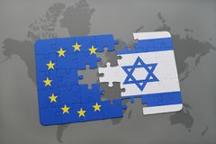 Puzzle with the national flag of israel and european union on a world map Stock Image