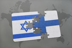 Puzzle with the national flag of israel and finland on a world map background. 3D illustration Royalty Free Stock Images
