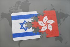 Puzzle with the national flag of israel and hong kong on a world map background. 3D illustration Stock Photos