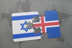 Puzzle with the national flag of israel and iceland on a world map background. Royalty Free Stock Images