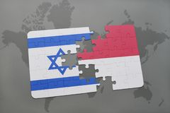 Puzzle with the national flag of israel and indonesia on a world map background. 3D illustration Stock Image