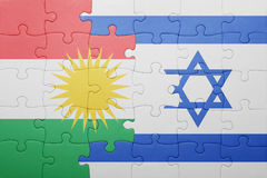 Puzzle with the national flag of israel and kurdistan. Concept Royalty Free Stock Image
