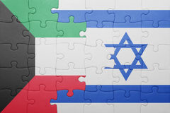 Puzzle with the national flag of israel and kuwait. Puzzle with the national flag of israel and  kuwait. concept Stock Photos