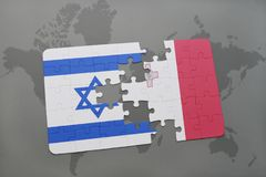 Puzzle with the national flag of israel and malta on a world map background. Stock Image