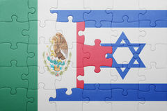 Puzzle with the national flag of israel and mexico. Concept royalty free stock photography