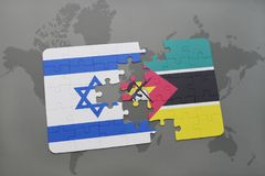 Puzzle with the national flag of israel and mozambiqueon a world map background. Puzzle with the national flag of israel and mozambique on a world map Royalty Free Stock Photo