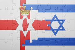 Puzzle with the national flag of israel and northern ireland Royalty Free Stock Photo
