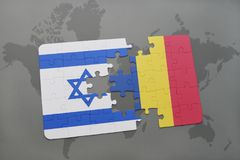 Puzzle with the national flag of israel and romania on a world map background. Royalty Free Stock Images
