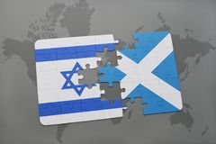 Puzzle with the national flag of israel and scotland on a world map background. Royalty Free Stock Photos