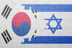Puzzle with the national flag of israel and south korea. Concept royalty free stock image