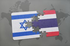 Puzzle with the national flag of israel and thailand on a world map background. 3D illustration Royalty Free Stock Images