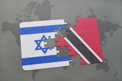 Puzzle with the national flag of israel and trinidad and tobago on a world map background. 3D illustration Royalty Free Stock Photography