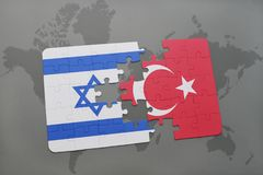 Puzzle with the national flag of israel and turkey on a world map background. 3D illustration royalty free stock photo