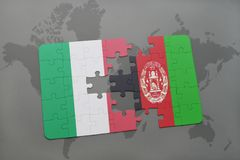 Puzzle with the national flag of italy and afghanistan on a world map background. 3D illustration Royalty Free Stock Images