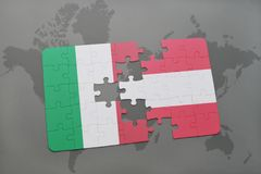 Puzzle with the national flag of italy and austria on a world map background. 3D illustration Royalty Free Stock Images