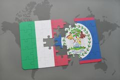 Puzzle with the national flag of italy and belize on a world map background. 3D illustration Stock Photography