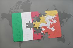 Puzzle with the national flag of italy and bhutan on a world map background. 3D illustration Royalty Free Stock Photo