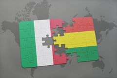 Puzzle with the national flag of italy and bolivia on a world map background. 3D illustration Royalty Free Stock Photo