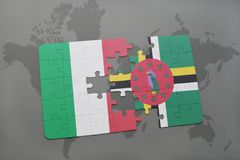 Puzzle with the national flag of italy and dominica on a world map background. 3D illustration Stock Photo