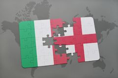 Puzzle with the national flag of italy and england on a world map background. 3D illustration Royalty Free Stock Photography