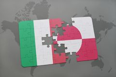 Puzzle with the national flag of italy and greenland on a world map background. 3D illustration Stock Image