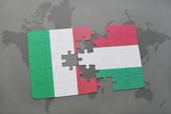 Puzzle with the national flag of italy and hungary on a world map background. 3D illustration Stock Photos