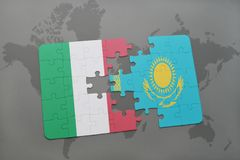 Puzzle with the national flag of italy and kazakhstan on a world map background. 3D illustration Stock Photos