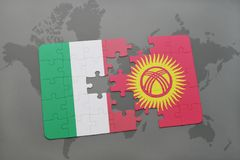 Puzzle with the national flag of italy and kyrgyzstan on a world map background. 3D illustration Royalty Free Stock Images