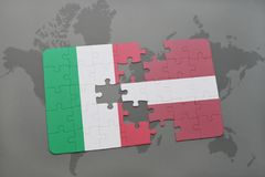 Puzzle with the national flag of italy and latvia on a world map background. 3D illustration Royalty Free Stock Photography