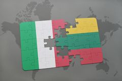 Puzzle with the national flag of italy and lithuania on a world map background. 3D illustration Royalty Free Stock Images