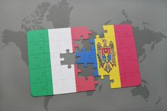 Puzzle with the national flag of italy and moldova on a world map background. 3D illustration Stock Photo