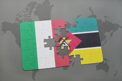 Puzzle with the national flag of italy and mozambique on a world map background. 3D illustration Stock Photos
