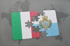 Puzzle with the national flag of italy and san marino on a world map background. 3D illustration Stock Image