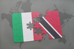Puzzle with the national flag of italy and trinidad and tobago on a world map background. 3D illustration Royalty Free Stock Photo