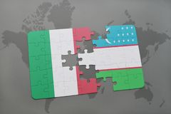 Puzzle with the national flag of italy and uzbekistan on a world map background. 3D illustration Stock Photo