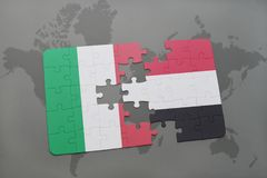 Puzzle with the national flag of italy and yemen on a world map background. 3D illustration Royalty Free Stock Image