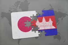 Puzzle with the national flag of japan and cambodia on a world map background. 3D illustration royalty free stock photography