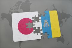 Puzzle with the national flag of japan and canary islands on a world map background. 3D illustration Stock Photography