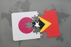 Puzzle with the national flag of japan and east timor on a world map background. 3D illustration royalty free stock photography