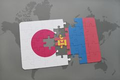 Puzzle with the national flag of japan and mongolia on a world map background. 3D illustration stock photos