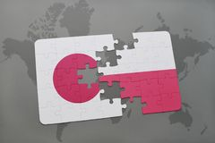 Puzzle with the national flag of japan and poland on a world map background. 3D illustration stock photos