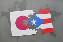 Puzzle with the national flag of japan and puerto rico on a world map background. 3D illustration stock photos