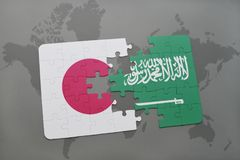 Puzzle with the national flag of japan and saudi arabia on a world map background. 3D illustration royalty free stock images