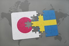 Puzzle with the national flag of japan and sweden on a world map background. 3D illustration Royalty Free Stock Images