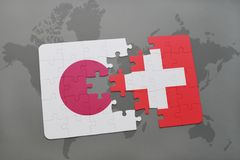 Puzzle with the national flag of japan and switzerland on a world map background. 3D illustration royalty free stock photography
