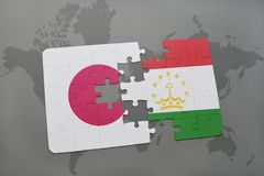 Puzzle with the national flag of japan and tajikistan on a world map background. 3D illustration royalty free stock image